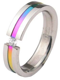 Rainbow Anodized Tension CZ Stone Ring - LGBT Gay...