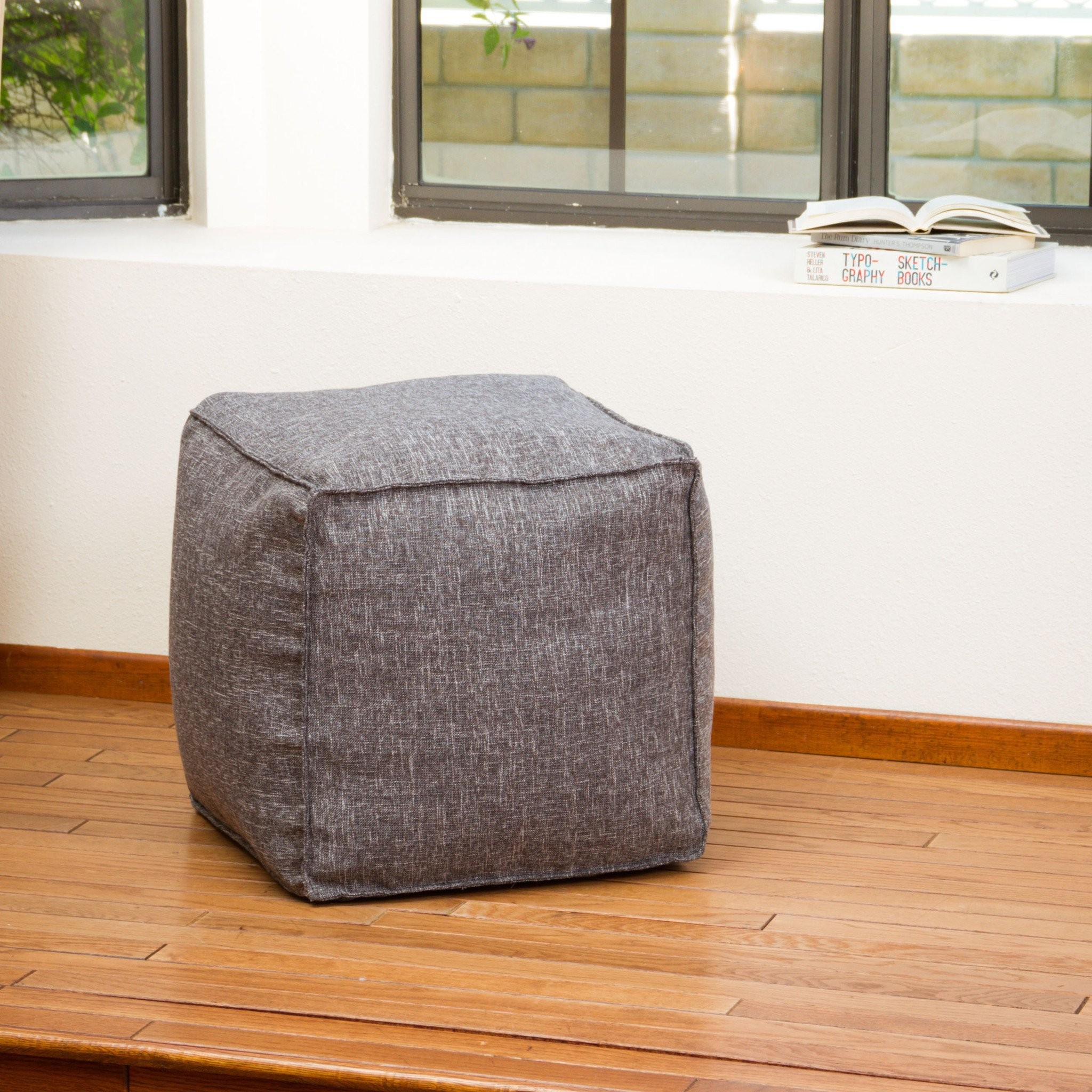 Luther Grey Fabric Cube Pouf
