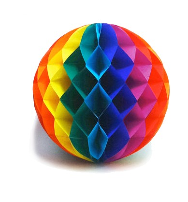12 Inch Rainbow Gay Pride Flag Honey Comb Ball Par...