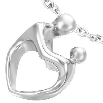 Womens Sculptured Heart Body Mother and Child Pend...