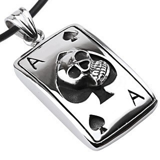 Stainless Steel - Ace of Spades Skull Dog Tag - wi...