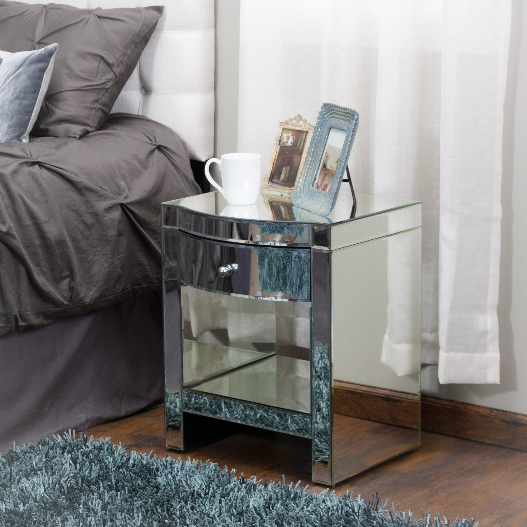 Jacinda Mirrored Single Drawer Nightstand