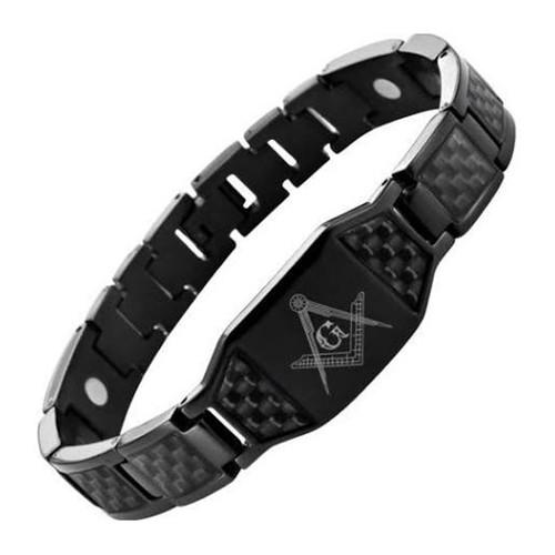 Masonic Bracelet - All Black Stainless Steel w/ Bl...