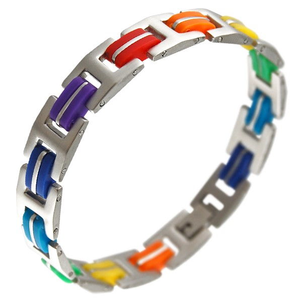 Steel Rubber Major Mix Rainbow Bracelet - Gay and...