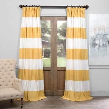 Quince Yellow & Off White Horizontal Stripe Curtai...