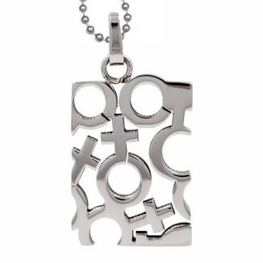 Lesbian Pendant with Female Mosaic Symbols - Lesbi...