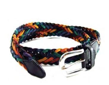 Rainbow Braided Leather Belt (with Adjustable Buck...