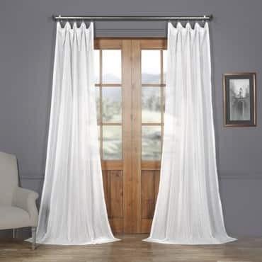 Bordeaux Striped Faux Linen Sheer Curtain