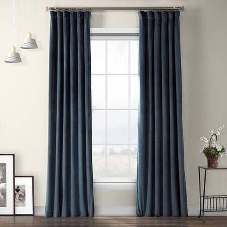 Avalon Blue Plush Velvet Curtain