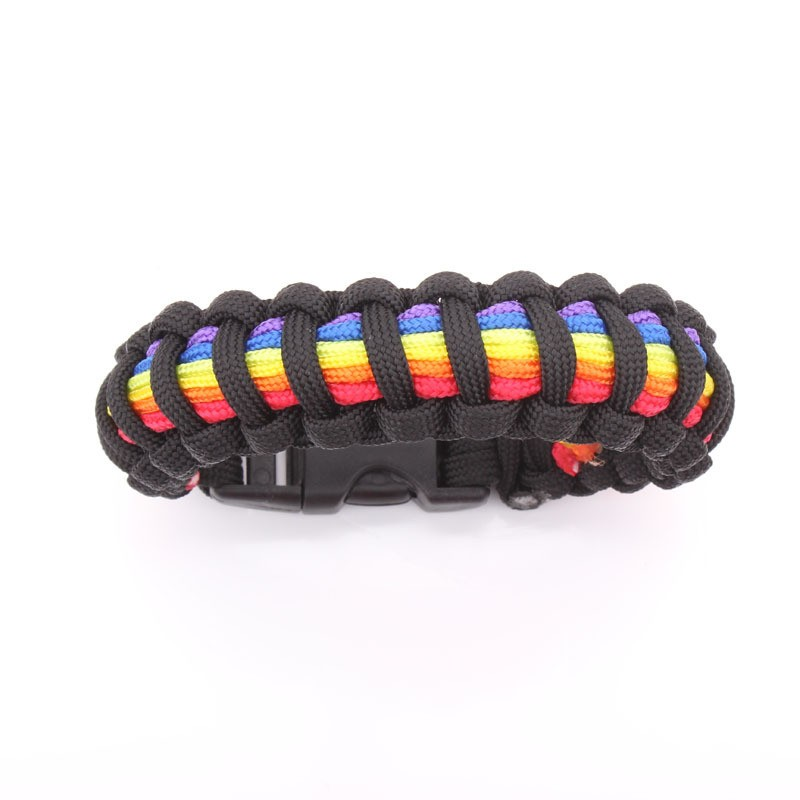 Black and Rainbow Flag Snap Clasp Paracord Bracele...