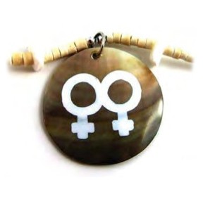 Painted Double Female Round Bead Brown Shell Neckl...