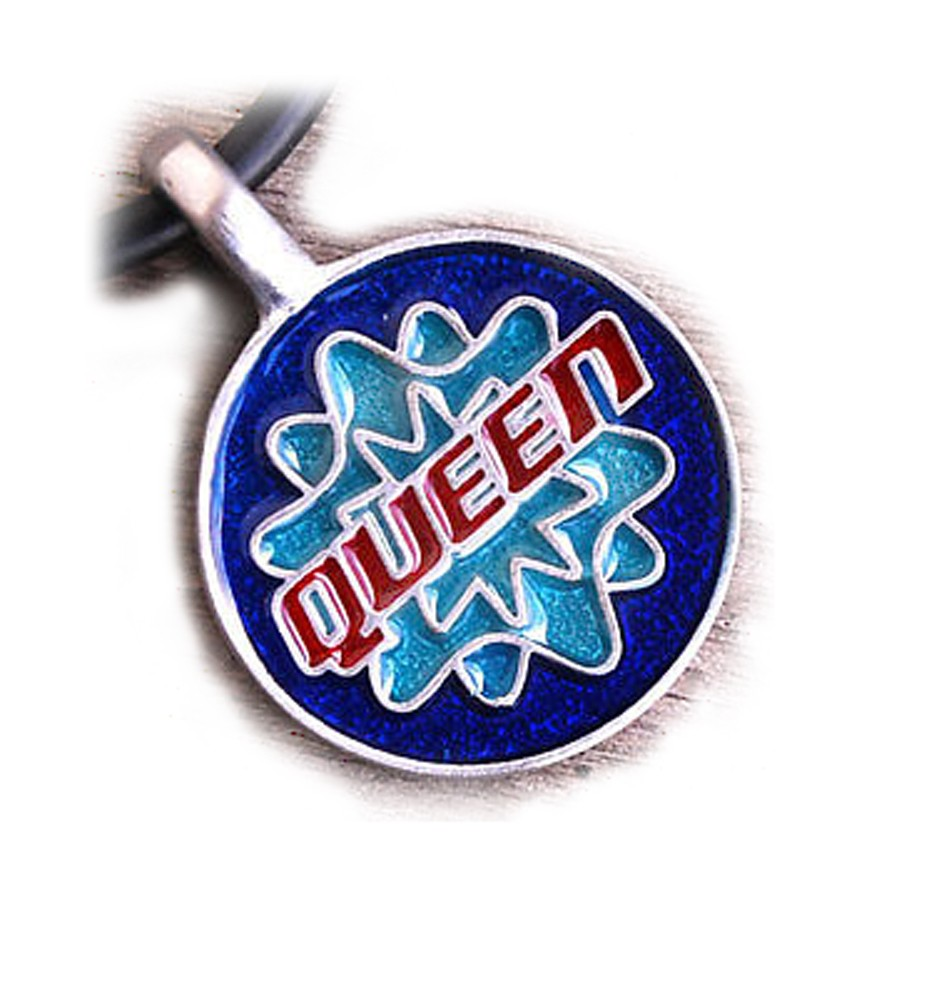 """Queen"" Gay and Pride Pendant with blue..."