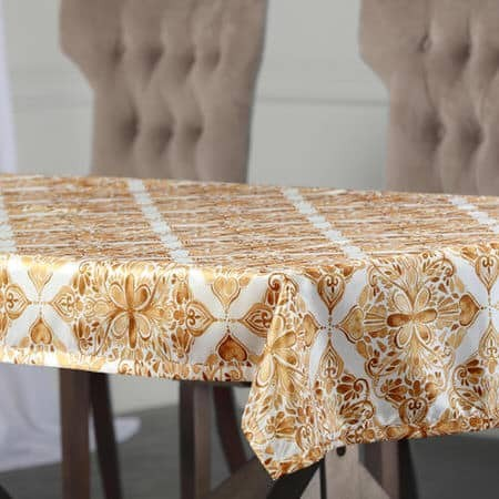 Tiera Gold Designer Faux Silk Taffeta Table Cloth