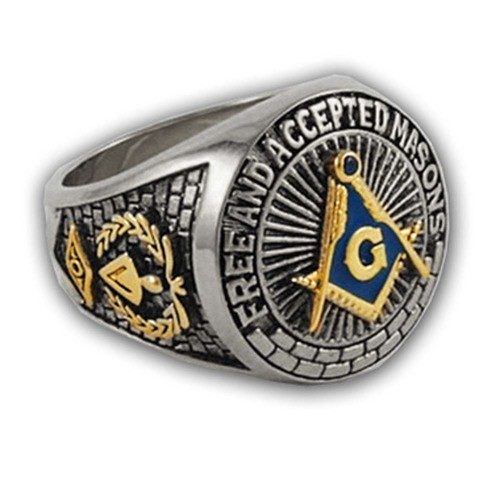 Blue Lodge - Duo-Tone Gold Icons Silver Color Band...