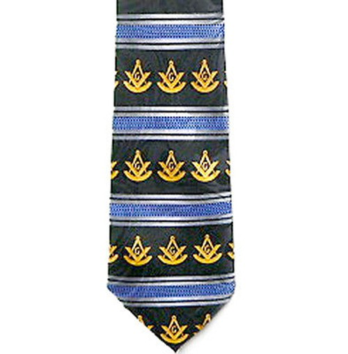 Past Master Masonic Neck Tie - Blue Polyester Long...