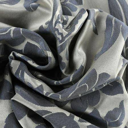 Magdelena Silver & Blue Faux Silk Jacquard Fabric