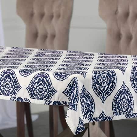 Donegal Blue Designer Faux Silk Taffeta Table Clot...