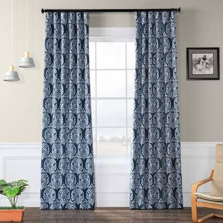 Woodcut Navy Blackout Curtain
