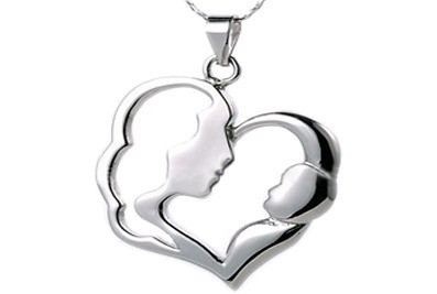 Classic Mother and Child Pendant - Flat Stainless...