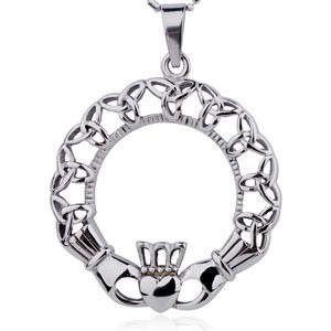 Claddagh Oval Irish Celtic Pendant w/ Chain Neckla...