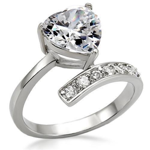 Womens Lift Up My Heart - CZ Stone Ring - Steel En...