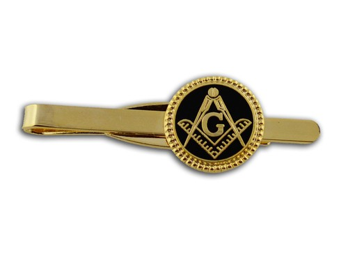 Masonic Tie Bar / Tie Clip for Free Masons with bl...