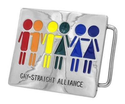 Rainbow Gay Straight Alliance Rectangular Belt Buc...
