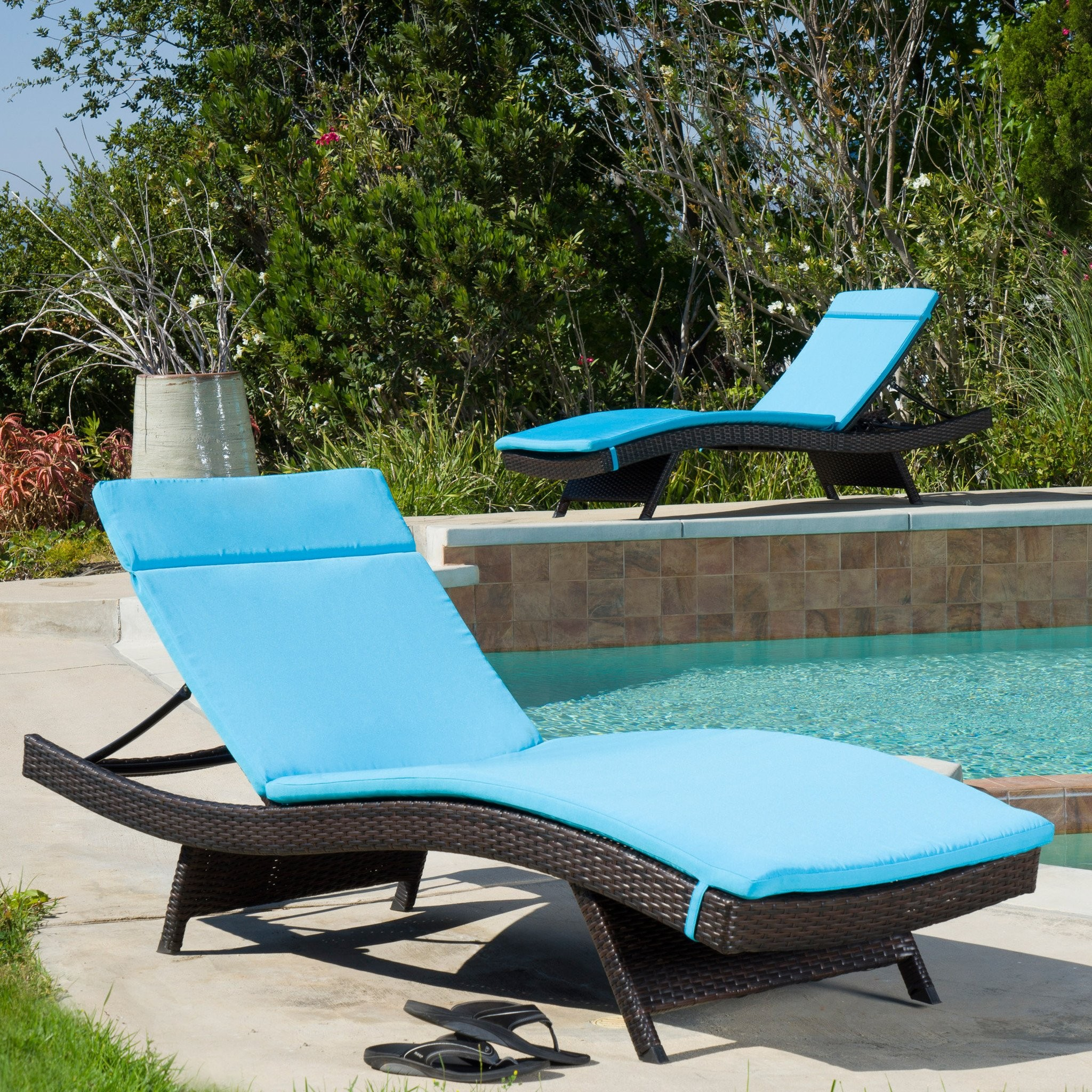 Set Of 2 Blue Cushion Pads For Outdoor Chaise Loun...