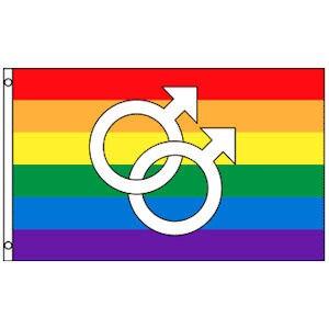 Rainbow Flag / Gay Pride Flag (Double Male Mars Sy...