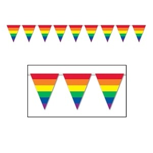 12' Foot Rainbow Gay Pride Flag (Triangle Stri...