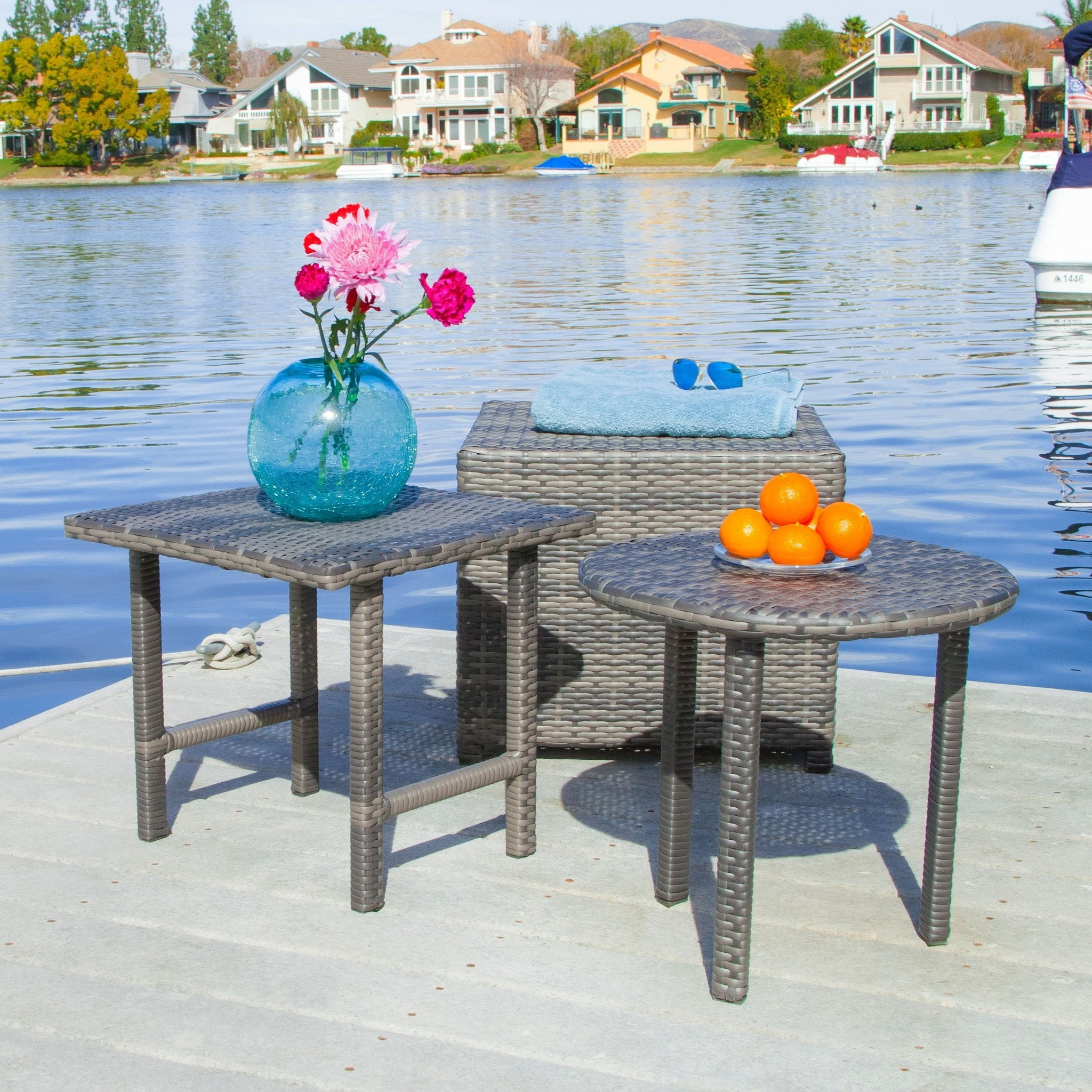 Laguna Grey Wicker Side Table Set