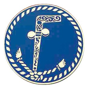 Masonic Tubal Cain Adhesive Car Decal - Blue Solid...