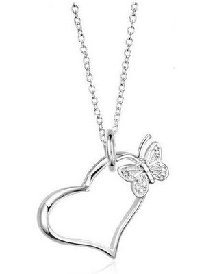 Open Heart and Butterfly Pendant Necklace (chain i...