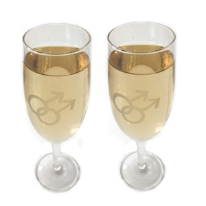 Gay Mens Champagne Glass Flutes w/ White Double Ma...