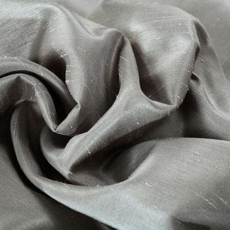Silver Vintage Textured Faux Dupioni Silk Fabric