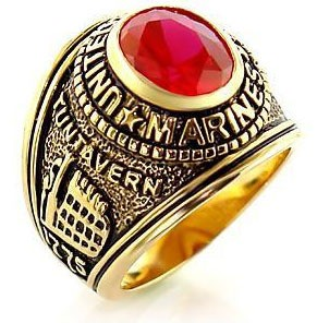 Marines Ring - USMC Military Ring (Gold with Red S...
