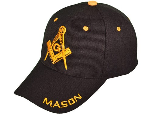 Black Masonic Baseball Cap - Golden Masonic Order...