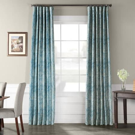 Wilton Blue Printed Faux Silk Taffeta Blackout Cur...