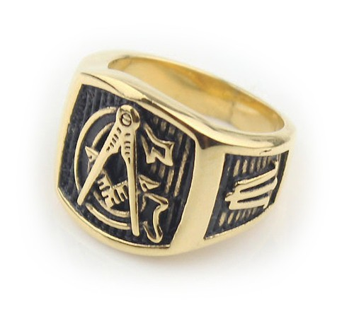 Freemason Ring / Mason Ring - Gold Plated Steel G...