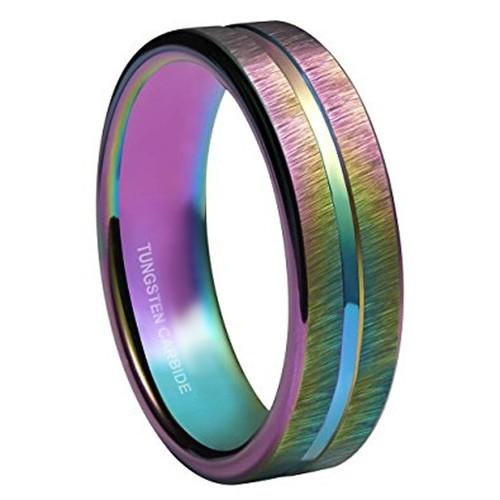 4mm - Women's Tungsten Wedding Band. Rainbow A...