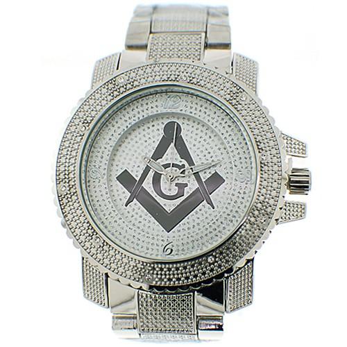 Masonic Watch - Steel Band - Freemason Symbol - Bl...