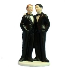 Two Grooms Gay Wedding Cake Topper - (Can be Custo...
