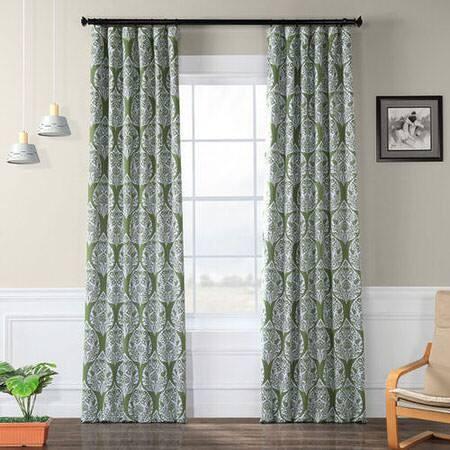 Woodcut Green Blackout Curtain