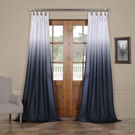 Ombre Blue Faux Linen Sheer Curtain