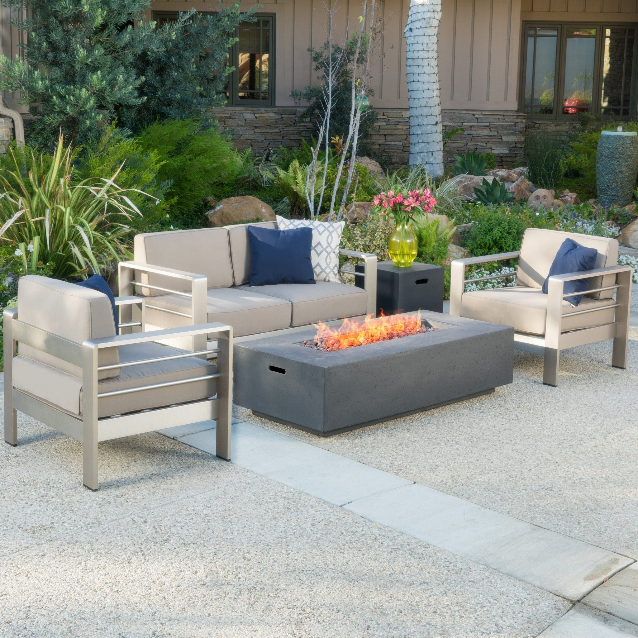 Crested Bay 5Pc Outdoor Fire Table Sofa Set
