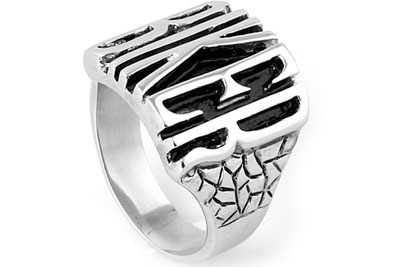 Steel - Biker Ring - Stainless Steel Motorcycle Ba...