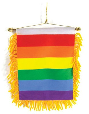 Gay Pride Rear View Mirror Banner Flag - Rainbow C...