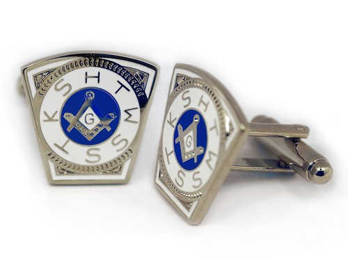 Masonic Cufflinks - Steel Masonic Keystone Standar...