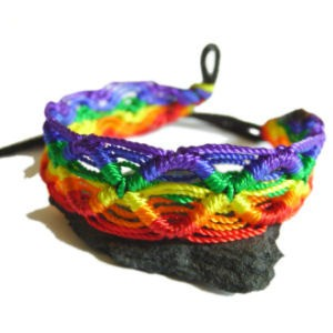 Rainbow Macrame Braided Bracelet - Gay & Lesbi...