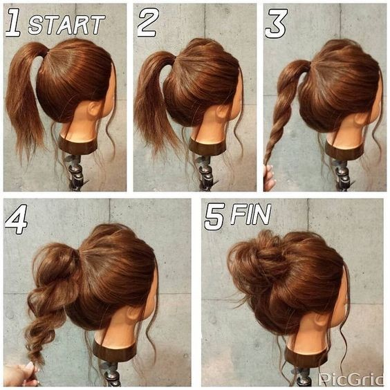 Casual updo style for medium/long hair
